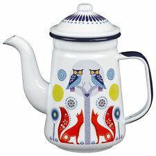 New Wild & Wolf Folklore Day Forest Animals White Enamel Tea Coffee Pot 4 Cup
