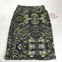 Lularoe cassie Pencil Skirt Black Yellow Prints Size XS NWT