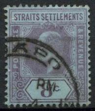 Malaya Straits Settlements 1902-3 SG#114, 8c Purple/Blue KEVII Used #A81933