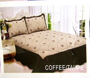 3 Pcs. QUEEN Embroidery Quilt w/ 2 Pillow Shams Bedspread, Coffee Taupe - NEW
