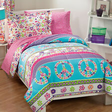 Girls Bedding Set Kids Teen Comforter Pink Peace Bed in a Bag Size Twin 5 Piece