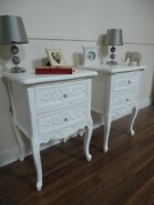 Handmade Pair Of Rococo French Bedside Cabinets In White