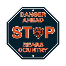 "NFL Chicago Bears Stop Sign Danger Ahead Home Room Bar Decor 12"" x 12"""