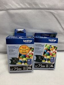 Lot Of 3 Brother LC75BK XL High Yield Ink Cartridge Black New in Box Expired H4