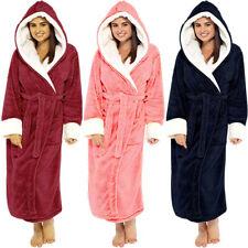 Ladies Bathrobe Long Fleece Dressing Gown Luxury Winter Womens Housecoat Robe