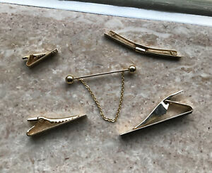 Vintage Tie Bar Clips Lot 1930's-40's Anson Gold Filled