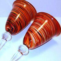 "Murano Art Glass Goblets Hand Blown Stemware Red Orange Black Swirl 8"" Set of 2"