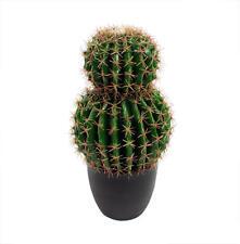Artificial 55cm Exotic Golden Double Barrel Cactus Plant Realistic Echinocactus