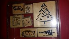 STAMPIN UP A CHRISTMAS WISH 6 RUBBER STAMPS TREE STOCKING free shipping