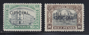 Mexico Sc O193-O194 MLH. 1927-28 Air Mail Official ovpts, cplt set, 5p signed.