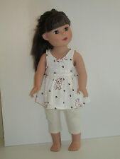 "I Love My Dog/Off White Capri Leggings for 18"" Doll Clothes American Girl"