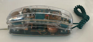 Vintage Retro 1990s Clear See Through Transparent Phone Turquoise Green Works