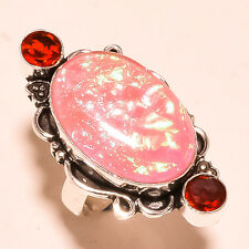 "Australian Triplet Opal With Garnet 925 Solid Sterling Silver Ring ""8.75"""