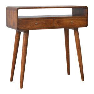 Mid Century Dark Wood Curved Console Dressing Table Desk Handmade Furniture