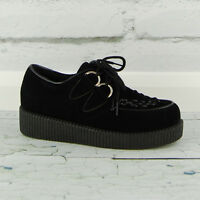 Womens Beetle Crusher Creeper Flat Platform Lace Up Black Work Ladies Shoe Size