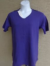 Being Casual Cotton Jersey Tunic Top with Epaulettes 2X  Purple