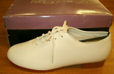 Girls 4 White Leather Oxford Jazz Tap Clog clogging Irish Dance Shoes NIB!