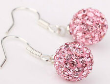 pink shamballa earrings crystal STOCKING FILLERS
