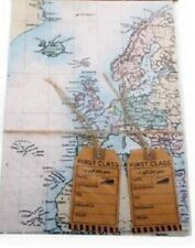 World Map Gift Wrap Set Paper Wrapping 2 Sheets 2 Tags & Rustic String
