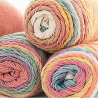 Rainbow Color Sweater Scarf DIY Hand-woven Crochet Knitting Wool Yarn Cotton