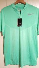 NEW Nike Flyknit Golf Snap Polo Shirt Medium Men's 833159-300 Volt Green