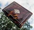 RARE BEAUTIFUL VICTORIAN SOLID SILVER AND Faux BLONDE TORTOISESHELL CARD CASE