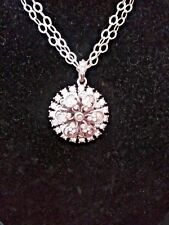 Sweet Romance extra long 30 in chain large crystal pendant made in the USA