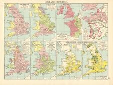 1925 ca MAP- ENGLAND HISTORICAL, 8 MAPS, ROMAN BRITAIN TO POST INDUSTRIAL REVOLU