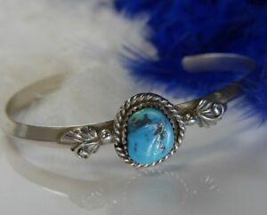 Turquoise Perlé Travail 0.925 Argent Sterling Solide 18.7cm de Valeur Manchette
