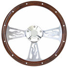 Hot Rod Street Rod Flamed Billet Steering Wheel & Real Mahogany Full Install Kit