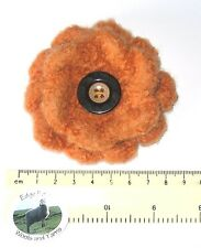 Handmade Dark Orange Felt 100% Wool Flower Brooch Party Hippy Boho Teacher Gift