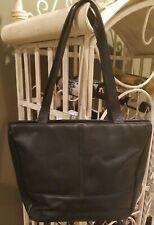 KENNETH COLE Reaction Black Leather Large Hobo Zipper Satchel Tote Purse Bag