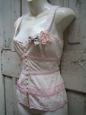 Nanette Lepore Lace Edged Corset Camisole Bustier Top 6 Beads Sequins Butterfly