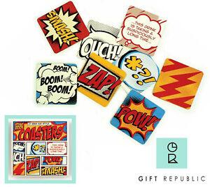 Gift Republic Comic Book 24 x Beer Mat Style Coasters Gift Pow Zap Boom Smash!