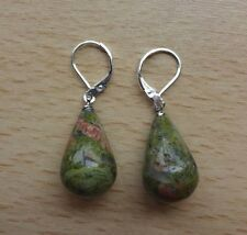 UNAKITE   gemstone pendant drop  EAR RINGS St Silver Gift wrapped