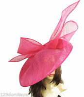 Fuchsia Pink Large Ascot Hat for Weddings, Ascot, Derby B7