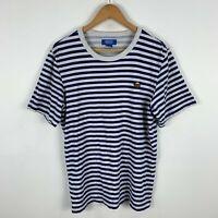 Adidas Nigo Bear Shirt Mens Medium Blue White Stripe Trefoil Crew Neck