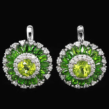 NATURAL AAA GREEN PERIDOT CHROME DIOPSIDE & WHITE CZ STERLING 925 SILVER EARRIN
