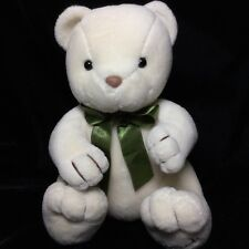 Harrods London Uk Cream Teddy Bear Green Bow Plush Soft Toy Stuffed 8""