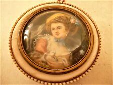 Peinture cadre  miniature ancienne femme au perroquet signe painting