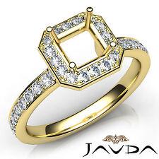 Asscher Cut Diamond Setting Engagement Semi Mount Ring 14k Yellow Gold 0.45Ct
