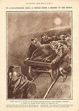 1916 WWI PRINT ~ TAKING SUPPLIES TO MEN IN FOREMOST GAS STRIKEN TRENCHES