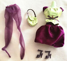 Barbie 1990's Fashion Avenue Plum and Gold Dress Purse Shoes Displayed