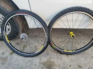 "Vintage Mavic CrossRide Wheelset Yellow 26"" MTB Bike Front/Rear Wheels."