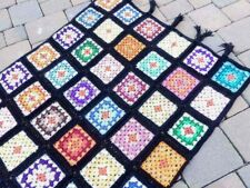 Vintage Granny Squares Crochet Flower Multi Color Afghan 48x72 Throw Blanket