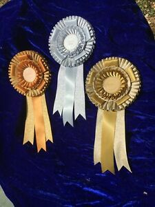 Rosette award ribbon,  1 x Gold,  silver or Bronze
