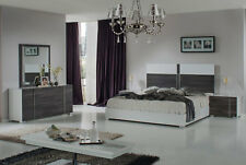 TUNDRA 5 piece Modern White & Gray Bedroom Set NEW Furniture - King Platform Bed