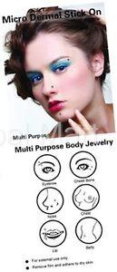 Stick On Micro Dermal Eyebrow Chest Bone Nose Lip Belly Button Fake Piercing
