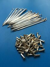 kit 36 spokes and nipples polished steel diameter 2,5 mm length 180 mm bend 90°