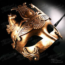 Mens Greek Roman Warrior Hercules Venetian Masquerade Ball Mask [All Gold]
